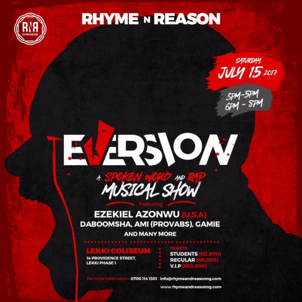 "RHYME N REASON presents ""EVERSION"" – A Spoken Word, RAP, Poetry, Broadway-type show"